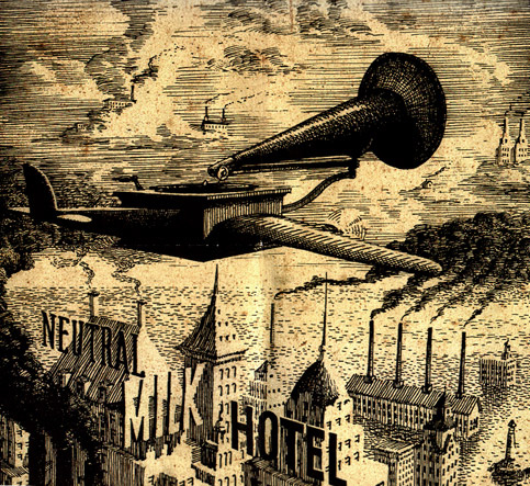 Album art from Neutral Milk Hotel's In the Aeroplane Over the Sea (1998)