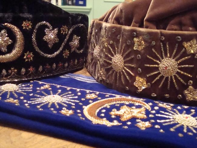 Some of Shakeela Hassan's fezes
