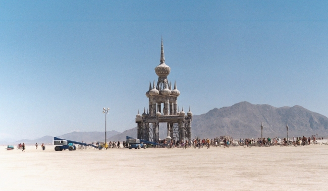 Temple built on the playa by Burning Man participants